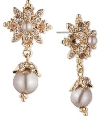 marchesa gold-tone crystal & imitation pearl drop earrings