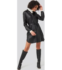 trendyol black pu mini dress - black