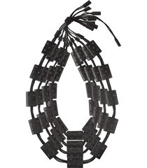 natori acacia wood with silver four layer necklace black o/s, women's