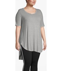 lane bryant women's active high-low tunic tee 26/28 white and black stripe