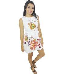 vestido blanco flores amarillas vt-00142