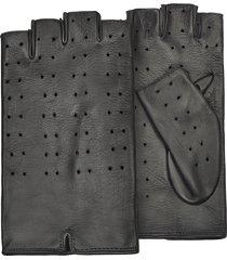 forzieri designer women's gloves, women's black perforated fingerless leather gloves