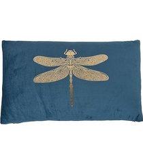 poduszka aksamitna ze złotą ważką niebieska