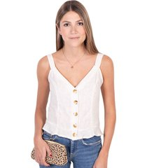 blusa de tiras con botones de pasta flashy