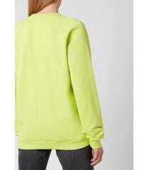 balmain women's flocked logo sweatshirt - anis/noir - m