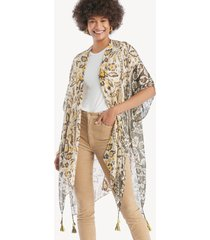 women's paisley floral print kimono mustard multi one size from sole society