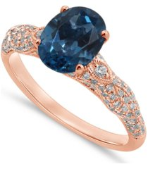gemstone bridal london blue topaz (2 ct. t.w.) & diamond (3/8 ct t.w.) engagement ring in 14k rose gold