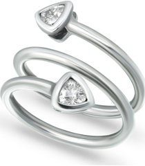 giani bernini cubic zirconia trillion bezel wrap ring in sterling silver, created for macy's