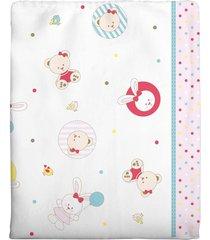 cobertor incomfral ursinha para bebê 90cm x 1.10m branco/rosa - kanui