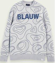 scotch & soda sweater met blauw-logo en ronde hals van 100% katoen