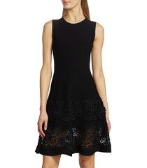 carolina herrera women's sleeveless lace-hem fit-&-flare dress - black - size xl