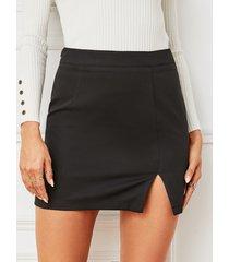 yoins black hendidura diseño minifalda