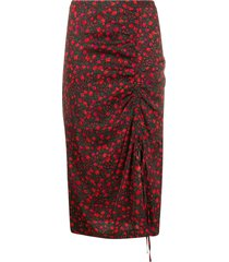 essentiel antwerp floral-print pencil skirt - black