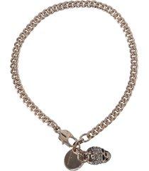 alexander mcqueen double chain skull bracelet