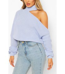 cut out knitted sweater, pastel blue