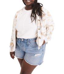 plus size women's madewell tie dye broadway cardigan sweater, size 1x - white