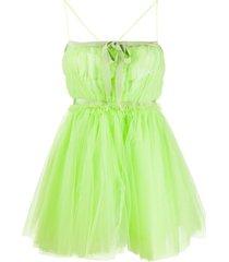 brognano tulle babydoll short dress - green