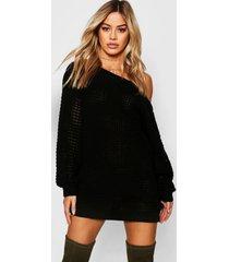 petite wafel gebreide sweatshirt jurk met open schouders, zwart