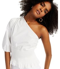 inc smocked one-shoulder top, created for macy's