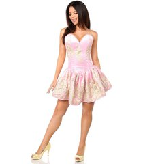 sexy elegant satin pink floral embroidered steel boned short corset dress