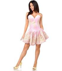 sexy elegant satin pink floral embroidered steel boned short corset dress
