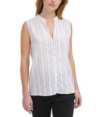 calvin klein jeans cotton striped eyelet blouse