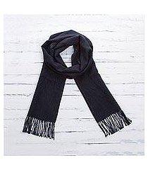 100% alpaca scarf, 'evening mariner' (peru)