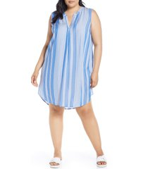 plus size women's single thread split neck shift dress
