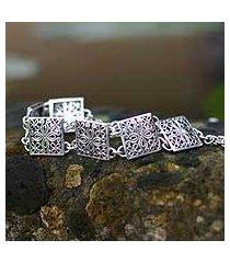 sterling silver link bracelet, 'magical windows' (indonesia)