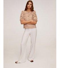 kanten blouse met pofmouwen