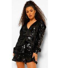 geplooide mini jurk met pailletten, laag decolleté en lange geplooide mouwen, black