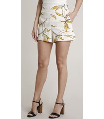 short feminino estampado de folhagem com bolsos off white