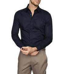 men's reiss kiana slim fit shirt, size medium - blue