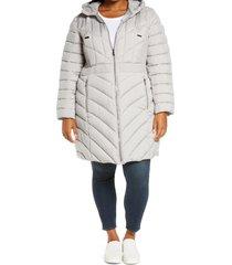 plus size women's bernardo packable hooded walker coat, size 1x - grey