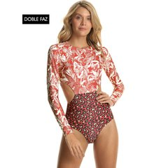 traje de baño terracota-blanco maaji crimson fortune forest surf one
