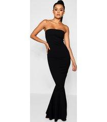 bandeau fitted fishtail maxi bridesmaid dress, black