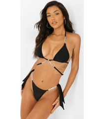 bikini top met bandjes, ketting en halter neck, black