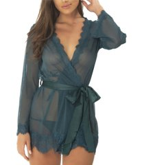 women's lace robe with satin sash and g-string 2pc lingerie set