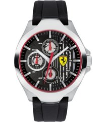 ferrari men's chronograph aero black silicone strap watch 44mm