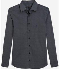 camisa dudalina manga longa estampa geométrica masculina (azul marinho, 7)