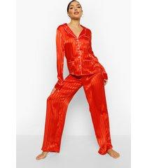 jaquard satijnen gestreepte pyjama, red