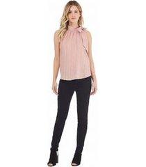 blusa frente unica cava francesa amarracao lateral rosa g