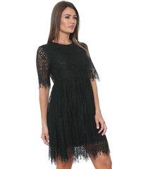 vestido ellus curto renda preto