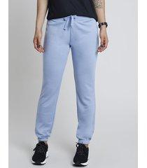 calça feminina esportiva ace básica em moletom azul claro