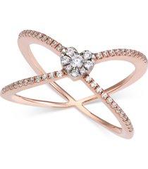 diamond criss-cross statement ring (1/4 ct. t.w.) in 14k rose gold
