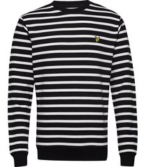 breton stripe sweatshirt sweat-shirt tröja svart lyle & scott