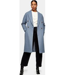 blue double breasted coat - blue