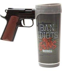 caneca de pistola ban idiots 470ml - river's edge