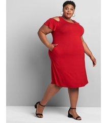 lane bryant women's cold-shoulder swing dress dress 38/40 cherry wine