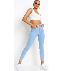 skinny jeans met hoge taille en gerafelde zoom, light blue